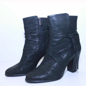 Vince Camuto Shoes - Vince Camuto Leather Wrapped Tassel Heeled Booties